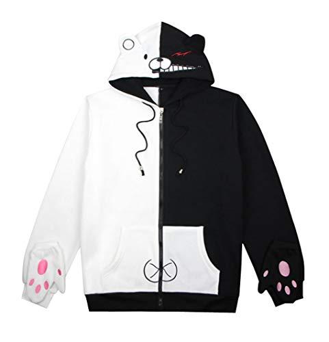 (Wish Costume Shop Anime Monokuma Sweatshirt Black White Bear Cosplay Costume Hoodie (A, XXXL) )