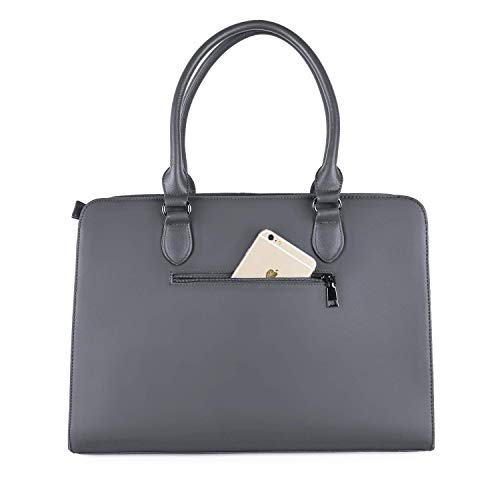 MOSISO Laptop Tote Bag for Women (Up to 15.6 Inch), Premium PU Leather Large Capacity with 3 Layer Compartments Business Work Travel Shoulder Briefcase Handbag, Space Gray by MOSISO (Image #7)