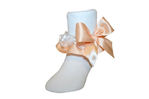 Girls Ruffle Ankle Socks with Satin Organza & Bows in Assorted Colors (5-6.5 toddler, Peach) (Orange Socks Bow)