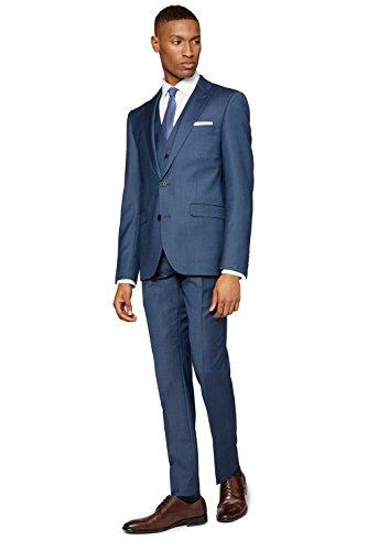 DKNY Men's Slim Fit Blue Sharkskin Suit Jacket - London Shop Dkny