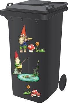 Mülltonnenaufkleber, selbstklebend, Motiv Gartenzwerge