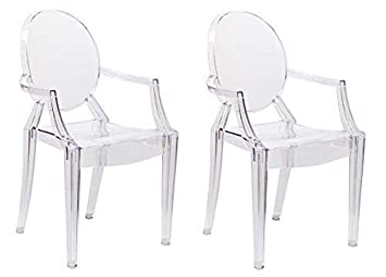 Chairs4you Lot De 2 Chaises Transparentes Inspirees Louis Ghost Salle A Manger Cuisine Dressing Salon Bureau
