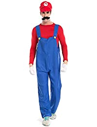 Super Mario Luigi Halloween Costume Super Mario Brothers Fancy Dress Costume for Halloween Christmas Party Cosplay (Large, Red)