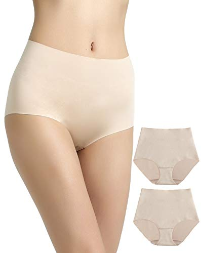 Vanever Women's No VPL Briefs, 2 Pack, No Panty Line Brief Panties, Invisible High Waist Underpants Nude 2XL