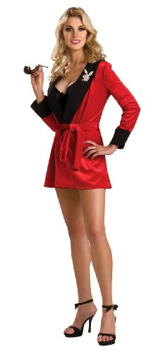 Hugh Hefner Halloween (Secret Wishes Women's Playboy Girlfriend Robe, Red,)