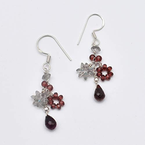 Natural Garnet Labradorite Beads Chandelier Gemstone Earrings with 925 Sterling Silver Findings 1.50