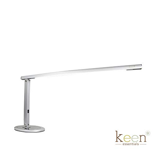 LED Office Lamp with USB Charging Port Bright Desk Light 18 Volts 50 60 HZ 100-240 VAC UL US Listed Reading Lamp Slimline Daylight Keen Essentials