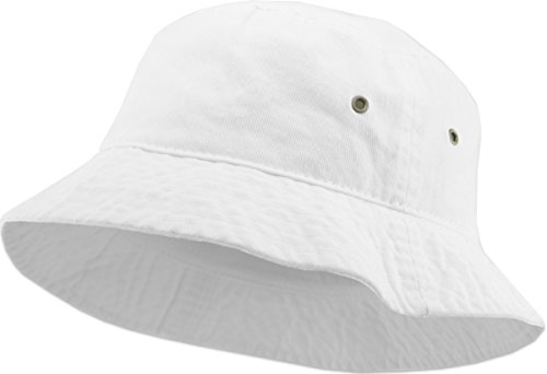 White Bucket Hat (KBM-500 WHT S/M Travel Packable Summer 100% Cotton Unisex Bucket Hat for Women and)