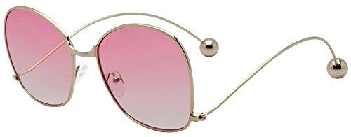Gold Silver Metal Round Oversized Butterfly Accent Ball Tip Flat Clear & Color Transparent Lens Eye Glasses (Gold | Pink Lens, - Janis Style Sunglasses Joplin