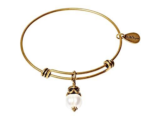 BellaRyann Fresh Water Pearl Expandable Bangle Charm Bracelet in Vintage Gold