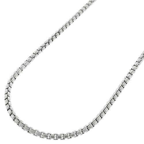 - 14k White Gold Round Box Cable Rolo Link Necklace Chains 2MM 2.5MM, Men & Women, In Style Designz (2mm,24)