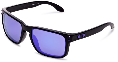 Oakley Holbrook Sunglasses, Matte Black/Violet Iridium, One Size (Oakley Two Face Clear Lenses)