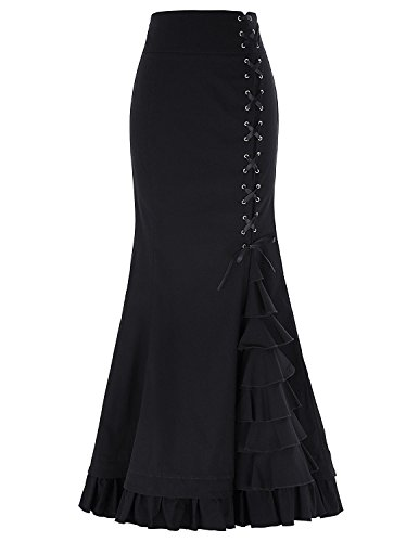 Sweetdress Women's Vintage High Stretchy Ruffled Fishtail Mermaid Long Skirt (Black, XL)