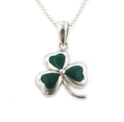"Green Enameled Irish Shamrock Lucky Clover Sterling Silver Pendant with 18"" Chain Necklace"