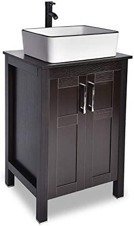 24 Bathroom Vanity Sink Combo Black Cabinet Vanity and White Ceramic Vessel Sink
