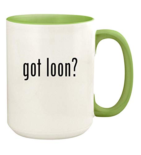 got loon? - 15oz Ceramic Colored Handle and Inside Coffee Mug Cup, Light Green