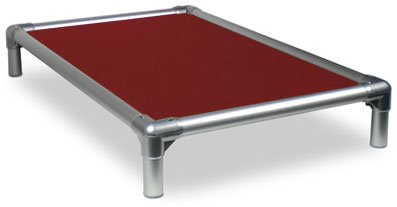 Kuranda All-Aluminum (Silver) Chewproof Dog Bed - XL (44x27) - Ballistic Nylon - Burgundy by Kuranda
