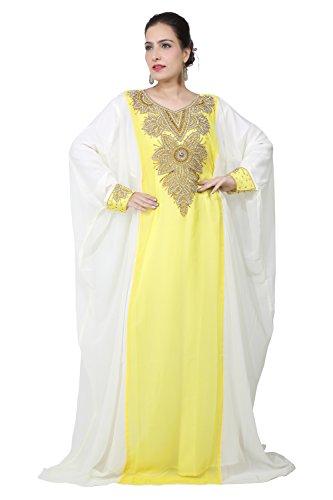Vestido largo islámico islámico Kaftan árabe de Farasha de los hombres de los UAE Style de Bedi - tamaño único - (KAF-2934) Yellow