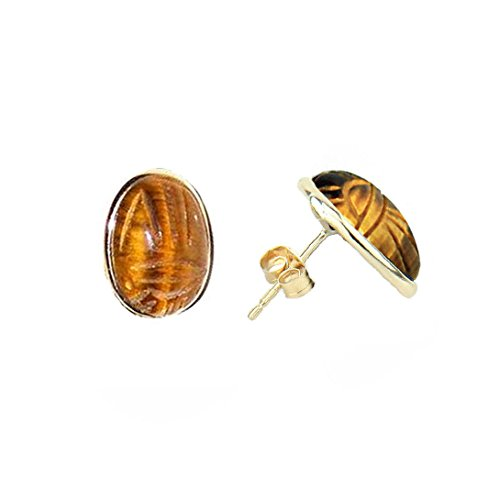 14K Yellow Gold Stud Scarab Earrings With Oval Shaped Tiger Eye Gemstones by amazinite