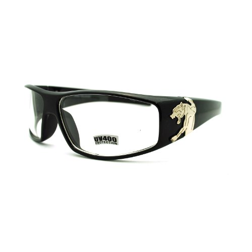 Mens Clear Lens Jaguar Emblem Black Warp Biker Clear Lens Eye - Jaguar Eyeglass Frames