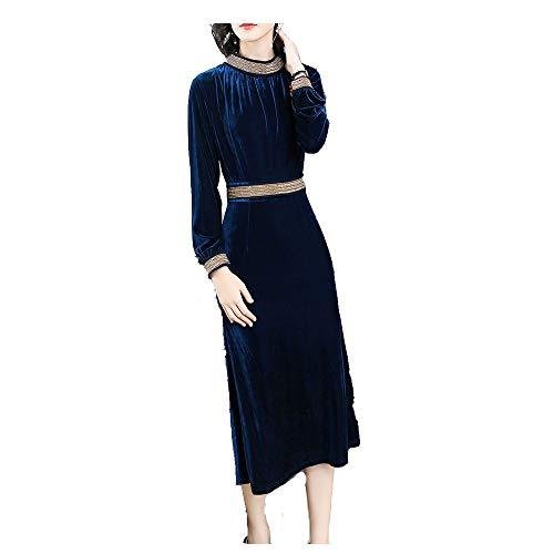Con Formale Lunghe Scollo Xxxl A Elegante Wenzhihua Navy Navy V Vestito Svasato Formale Da Donna E Sera colore Maniche Blu Abito Dimensione wPPxgqBI