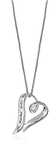 "Sterling Silver ""A Mother Holds Her Child's Hand For A Short While and Their Hearts Forever"" Open Heart Pendant Necklace, 18"""