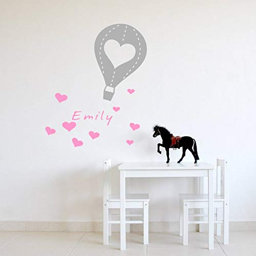 Biaues Vinyl Peel and Stick Mural Removable Wall Sticker Decals Personalized Any Kids Name Hot Air Balloon Love Decorative for Baby Girls Room