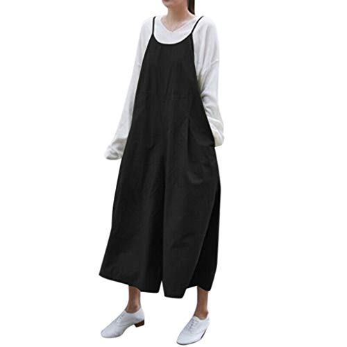 VonVonCo Rompers for Plus Size Women Summer Solid Strap Pockets Casual Loose Long Wide Leg Overalls Jumpsuits Black