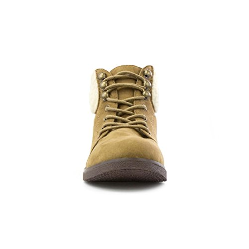 Lilley Kvinners Tan Faux Suede Snøre Ankel Boot Brown
