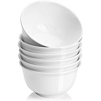 DOWAN 20 Ounces Porcelain Cereal Bowls, Soup Bowl Set, 6 Packs, White, Deep