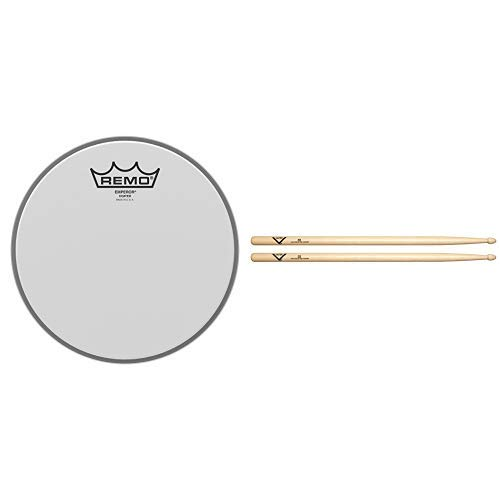 Remo Drum Set, Coated, 8-inch (BE-0108-00) with Vater 5B Wood Tip Hickory Drum Sticks, Pair