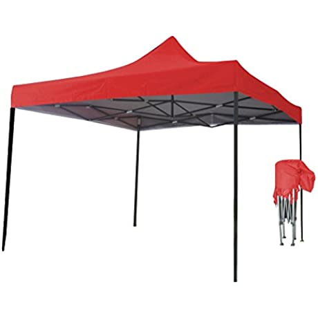 Just Relax Folding Gazebo Canopy Red 10x10 Feet