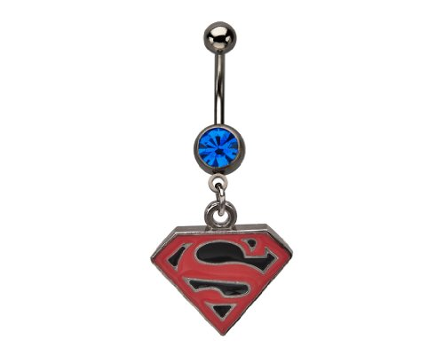 DC Comics Superboy Surgical Steel Dangle Belly Ring with Gem 14g ()