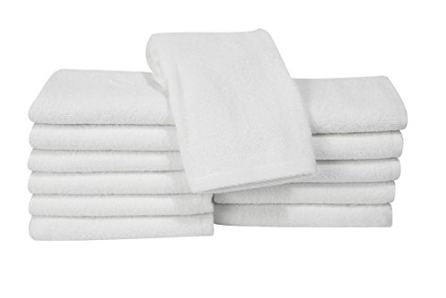 Salbakos Classic Turkish Cotton 12 Piece White Bath Towel Set - Thick and Soft Terry Cloth Hotel and Spa Quality Bath Washcloth Set Made with 100% Turkish Cotton 13 x 13 Inch -
