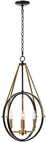 MOTINI 4-Light Modern Orb Chandelier Lighting Brushed Brass and Black Finish Sphere Pendant Light with Adjustable Steel Rings Hanging Cage Light Fixtures for Dining Room Kitchen Island Hallway
