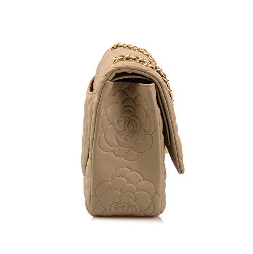 Flower Hobo Taupe Bag Shoulder Genuine Women's Leather Greenish Oversize Ainifeel Purse Gold Hardware Handbag Quilted q8w07SPxSB