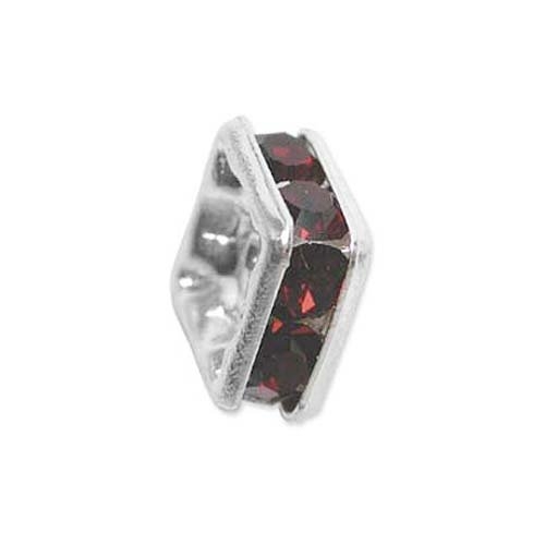 Silver Plated Squaredelle Spacers With Dark Siam Red Czech Crystals 8mm (2 - Dark Silver Plated