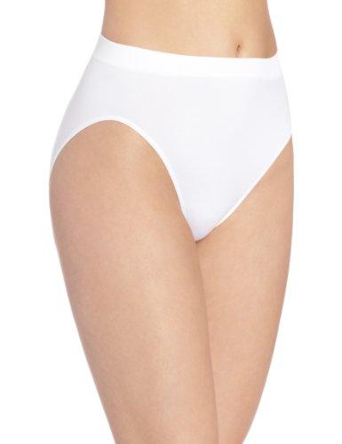 Bali Women's Microfiber Hi-Cut Panty, White, 8/9