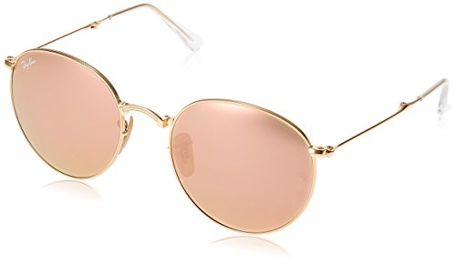 Ray-Ban METAL MAN SUNGLASS - GOLD Frame LIGHT BROWN MIRROR PINK Lenses 53mm - Ban Ray Round Folding Pink