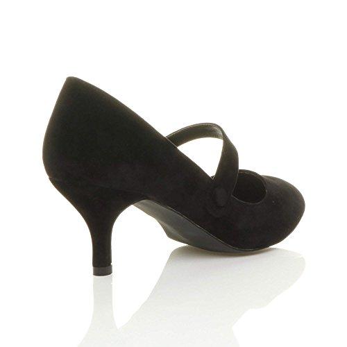 elegante mary media tacco taglia jane moda Donna Scamosciata Nero festa scarpe lavoro di wYqUAE