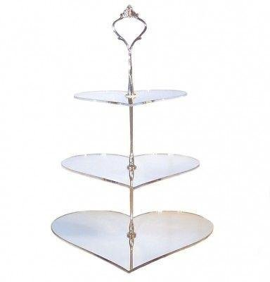 Three Tier Heart Cake Stand, Silver - Large ()