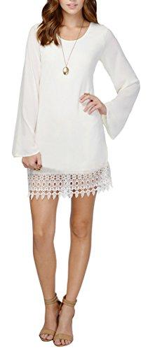 White Party Dress Ideas - Women's Long Sleeve Basic Asymmetrical Tunic Dress