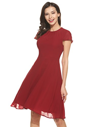 [Zeagoo Women Cap Sleeve Keyhole Back Fit and Flare Cocktail Party Chiffon Dress] (Cheap Plus Size Fancy Dress)