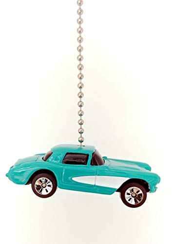 Diecast Chevy Corvette Ceiling Fan Light Pull Chain Ornaments & Keychains (1957 Corvette Baby Blue)
