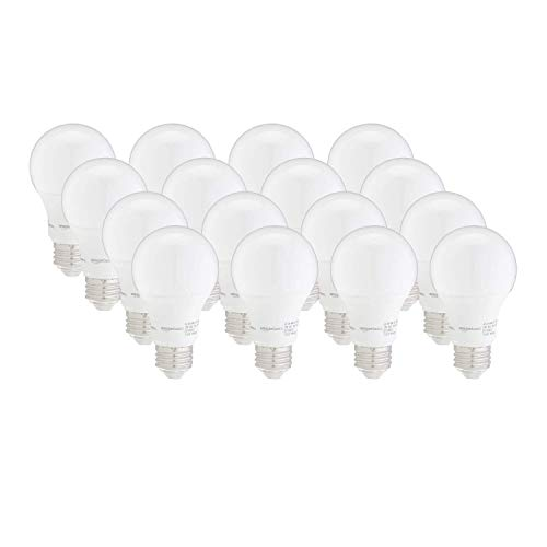 Amazon Basics 40W Equivalent, Soft White, Dimmable, 10,000 Hour Lifetime, A19 LED Light Bulb | 16-Pack