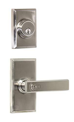 Weslock 3740P-3771 Single Cylinder Keyed Entry Utica Door Leverset and 3771 Dead, Satin -