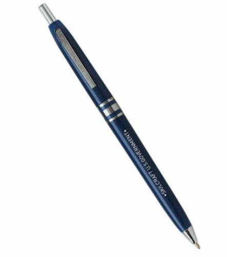 Skilcraft - 7520-01-332-2833 U.S. Government Retractable Blue Barrel Medium Point Ball Point Pen, Blue Ink, (Pack of 12)