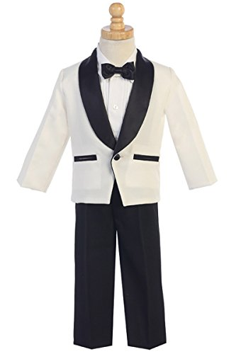 Lito Childrens Wear Ivory & Black Dinner Jacket w/Pants 4 PC Tuxedo (10, Ivory/Black)