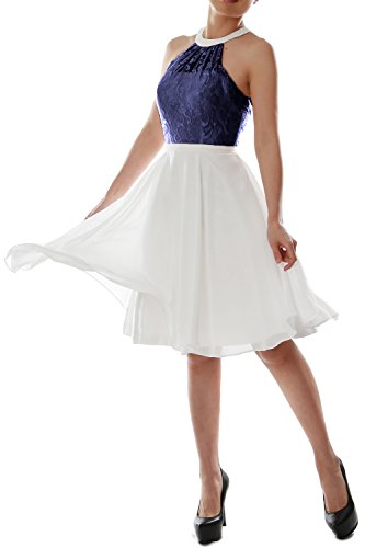 MACloth Women Halter Lace Short Wedding Party Bridesmaid Dress Homecoming Gown Azul Marino Oscuro