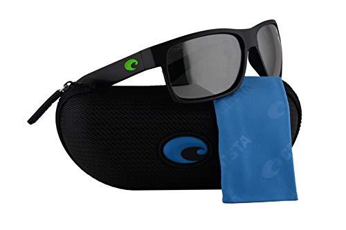 Costa Del Mar Half Moon Sunglasses Matte Black w/Polarized Glass Silver Grey Mirror 580G Lens 59mm HFM 200 OSGGLP ()